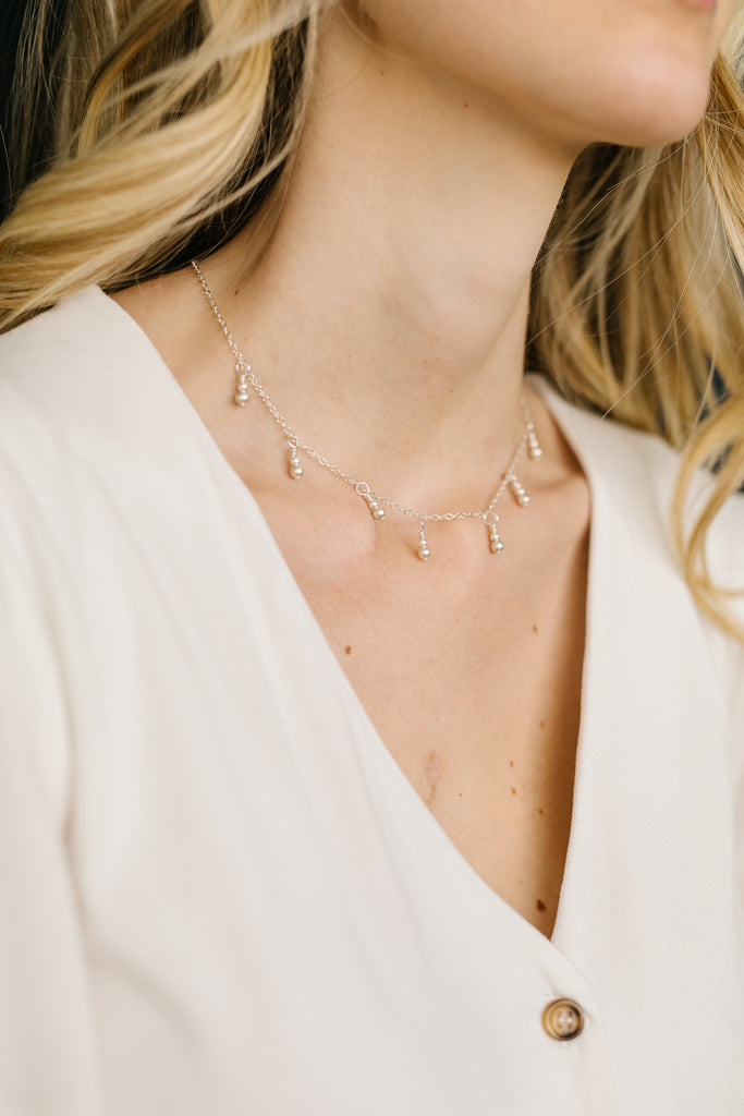 Silver {matte} Fringe Necklace