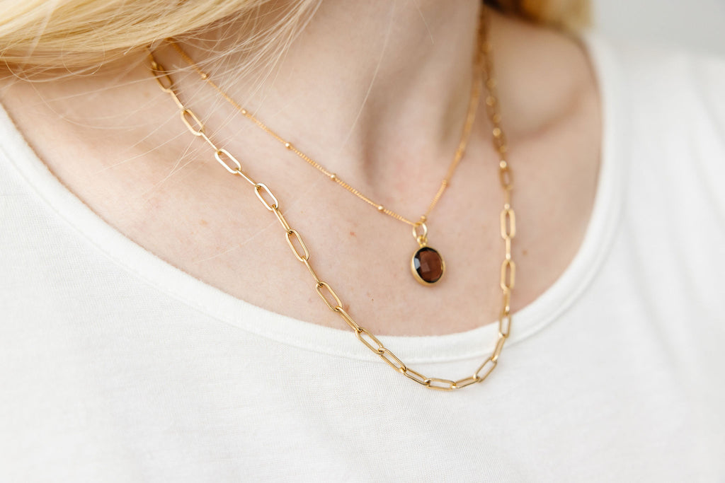 Smoky Quartz Necklace (Round)