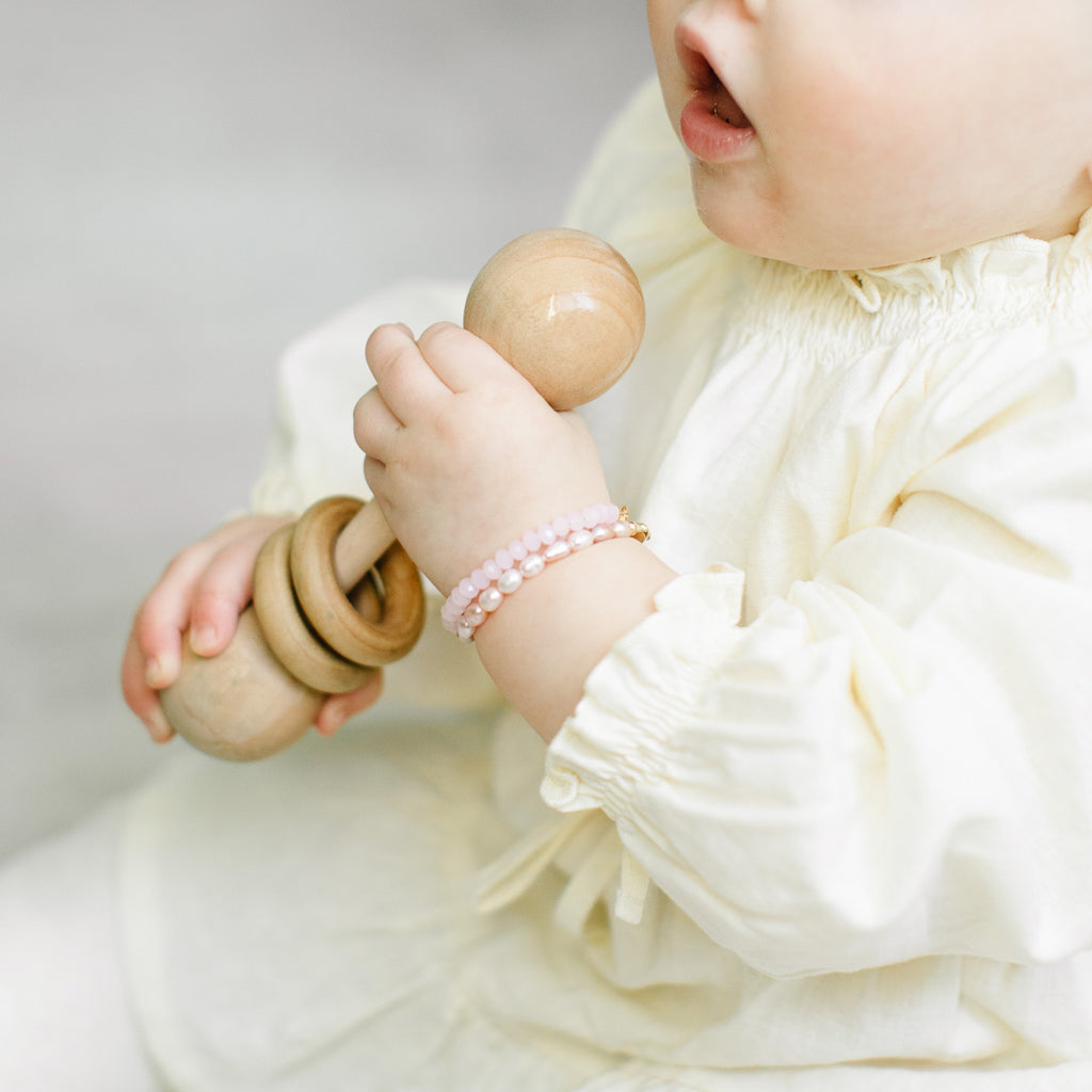 Blush Pearl Baby Bracelet (4MM beads)