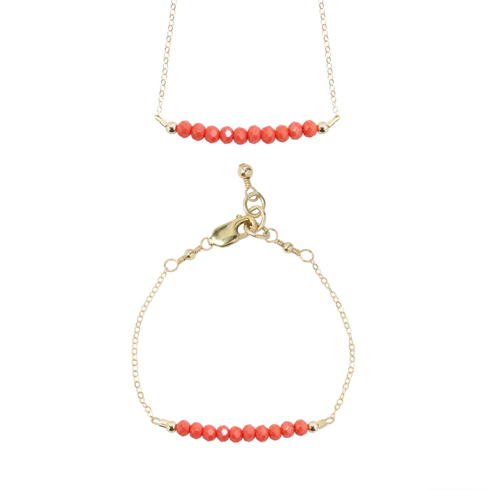 Coral Choker Necklace + Chain Bracelet Set (4MM beads)