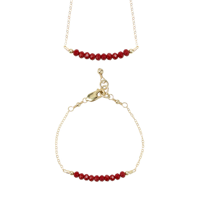 Cranberry Choker Necklace + Chain Bracelet Set 4MM beads)