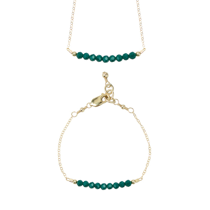 Evergreen Choker Necklace + Chain Bracelet Set 4MM beads)