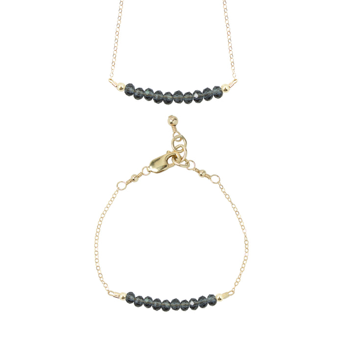 Flint Choker Necklace + Chain Bracelet Set (4MM beads)