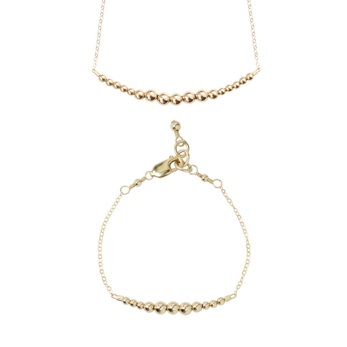 Gold Choker Necklace + Chain Bracelet Set