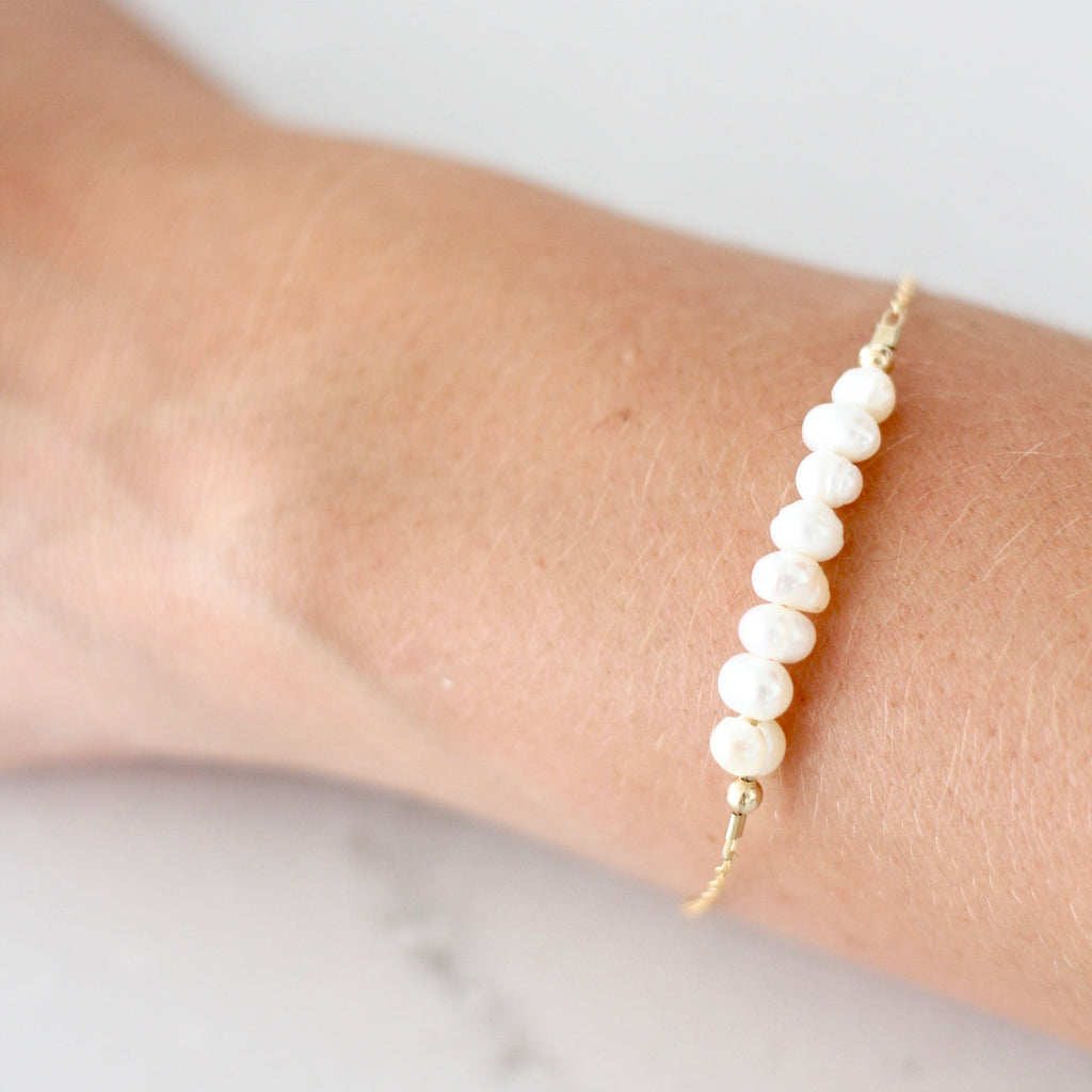 Freshwater Pearl Adult Chain Bracelet (6MM beads)