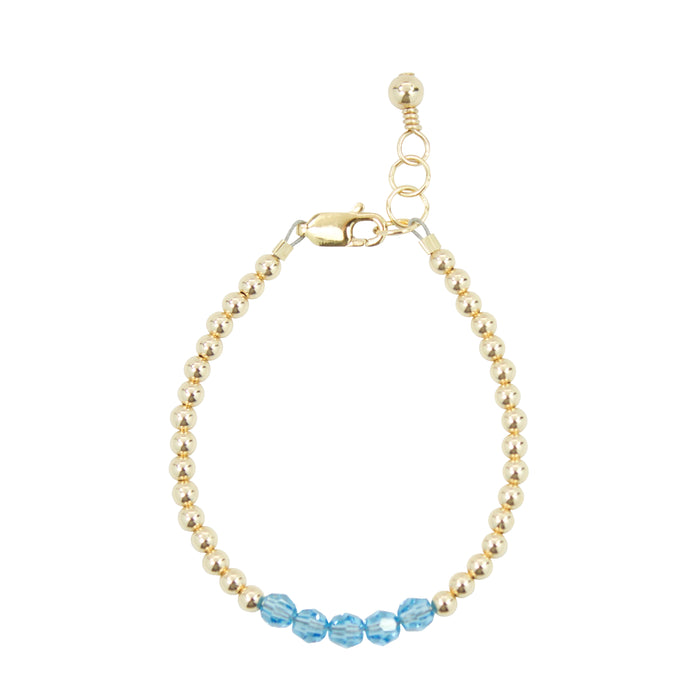 March Birthstone Baby Bracelet (4MM beads)