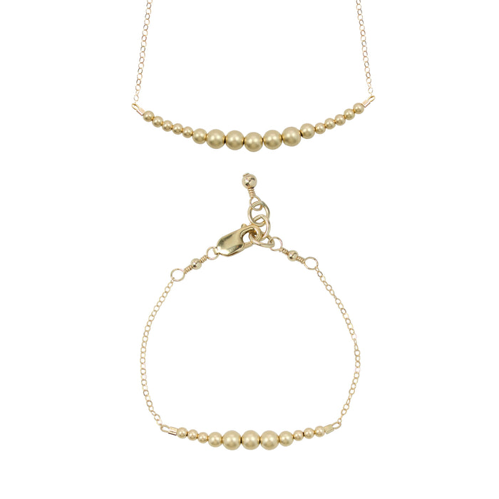 Gold {matte} Choker Necklace + Chain Bracelet Set