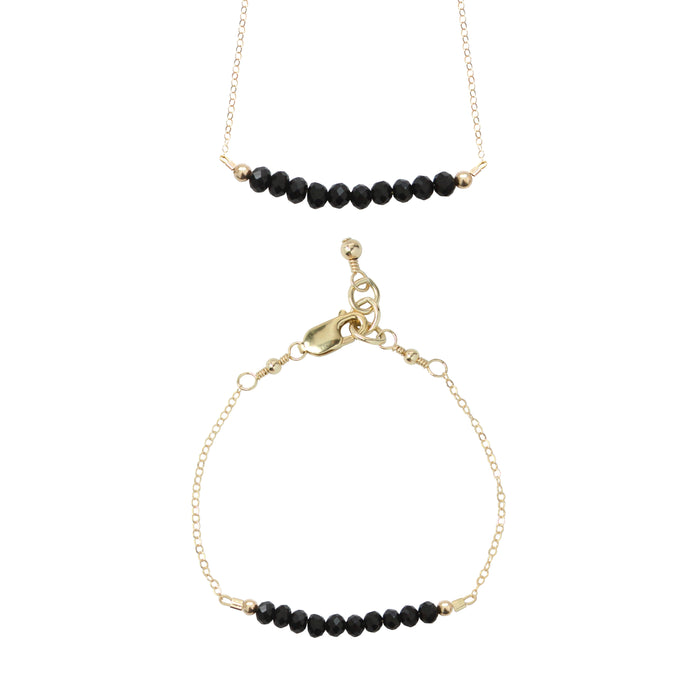 Midnight Choker Necklace + Chain Bracelet Set (4MM beads)