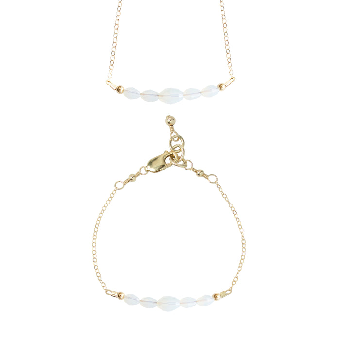 Mist Choker Necklace + Chain Bracelet Set (4MM + 6MM beads)