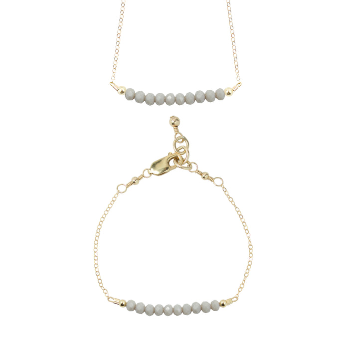 Pewter Choker Necklace + Chain Bracelet Set (4MM beads)