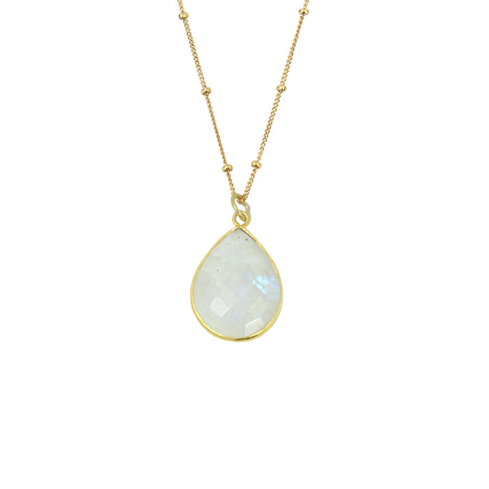 Rainbow Moonstone Necklace (Teardrop)