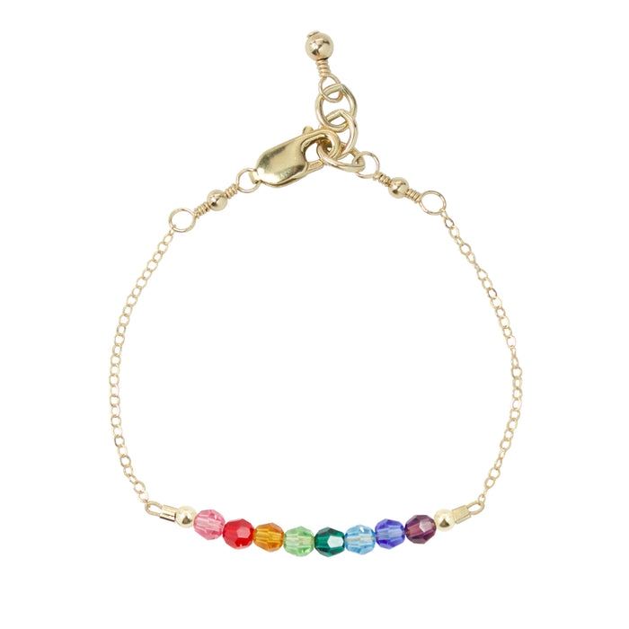 Rainbow Adult Chain Bracelet (4MM beads)