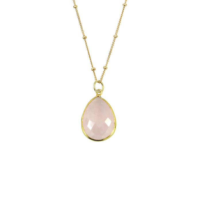 Rose Quartz Necklace (Teardrop)