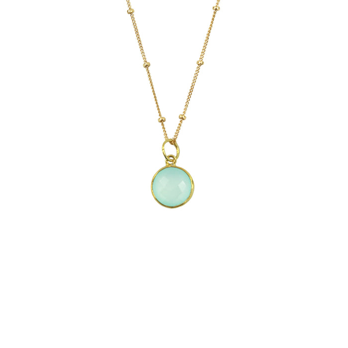 Teal Chalcedony Necklace (Round)