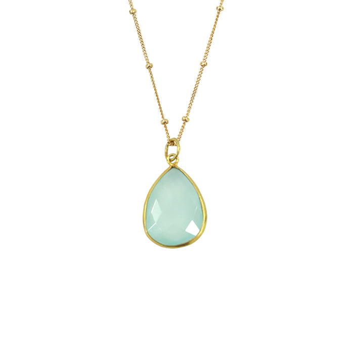 Teal Chalcedony Necklace (Teardrop)