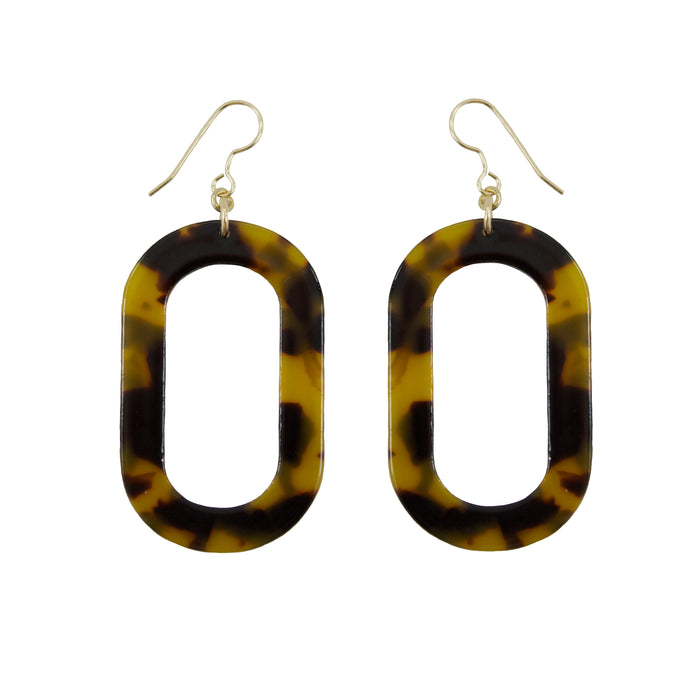 Tortoise Shell Oval Drop Earrings