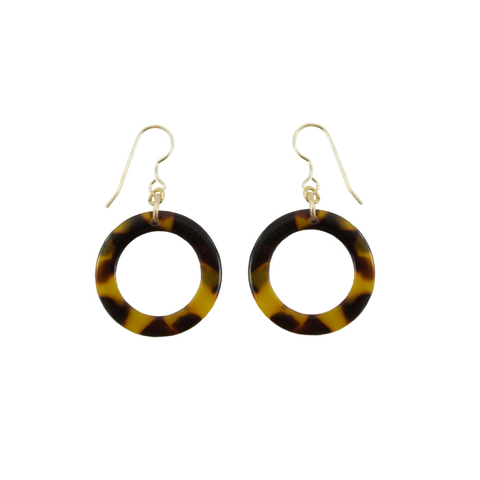 Tortoise Shell Round Drop Earrings