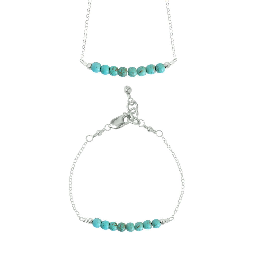 Turquoise Choker Necklace + Chain Bracelet Set (4MM beads)