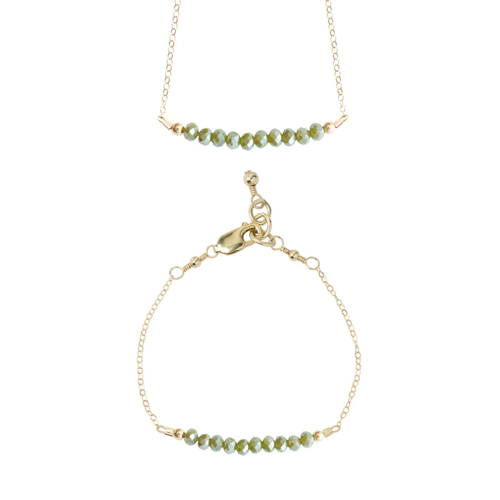 Vine Choker Necklace + Chain Bracelet Set (4MM beads)