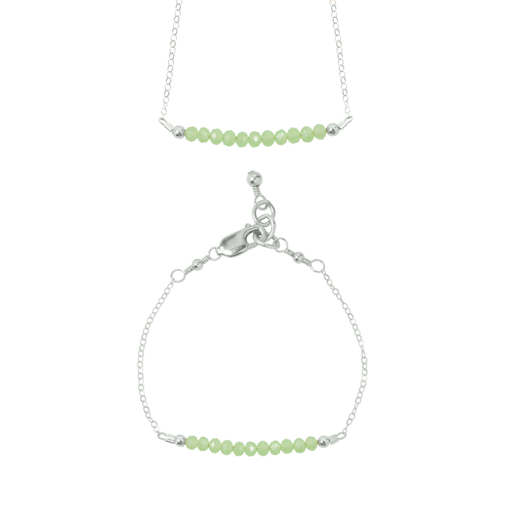 Willow Choker Necklace + Chain Bracelet Set (3MM beads)