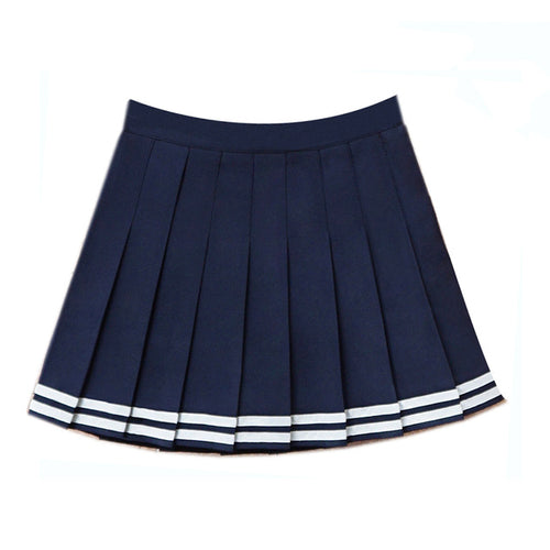 High Waist Pleated Sailor Skirt