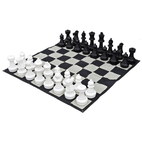 "25"" Indoor and outdoor Giant Chess Set with Nylon Board and Storage Bags"