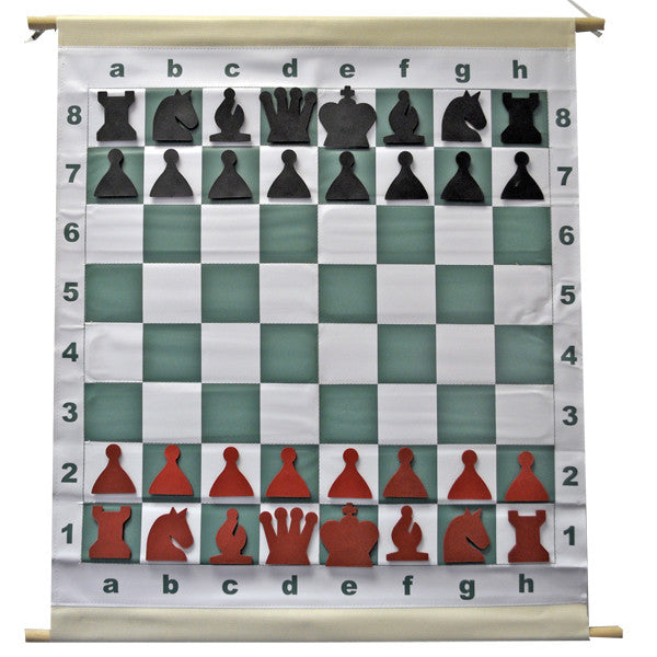 Magnetic Chess Demo Board with Red and Black Pieces and Bag