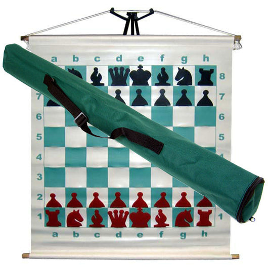 Basic Slotted Chess Demo Board with Red & Black Pieces & Bag