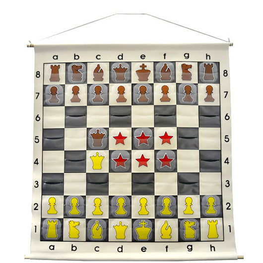 "27"" Wall hanging Chess Demo Board with Clear Pieces and Bag"
