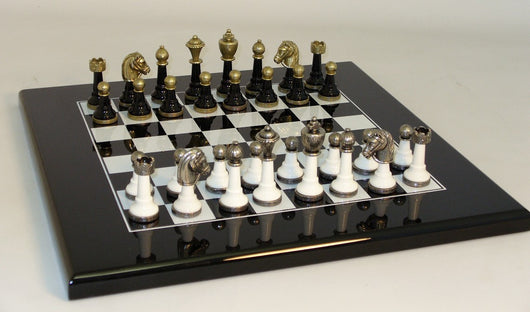 Black and White Wood and Metal Set with Lacquered Board