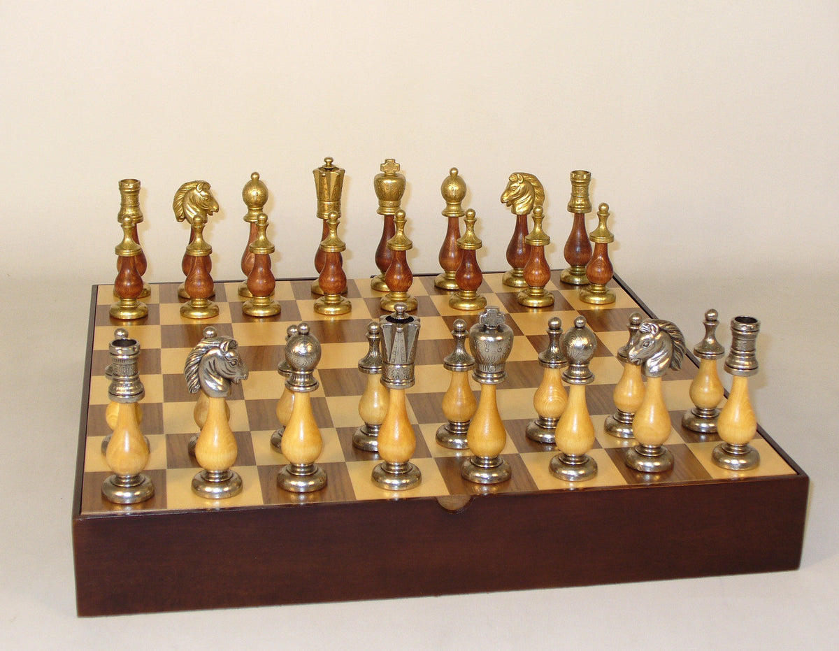 Wood and Metal Chessmen with Wooden Chess Chest