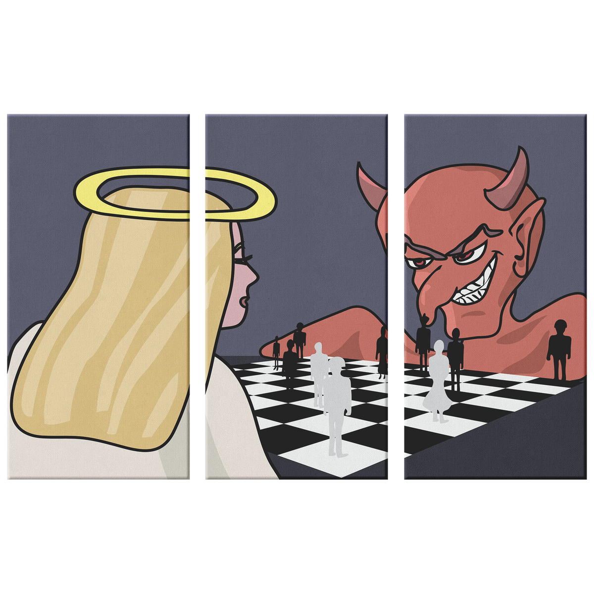 God vs Devil people chess - 3 piece canvas wall art