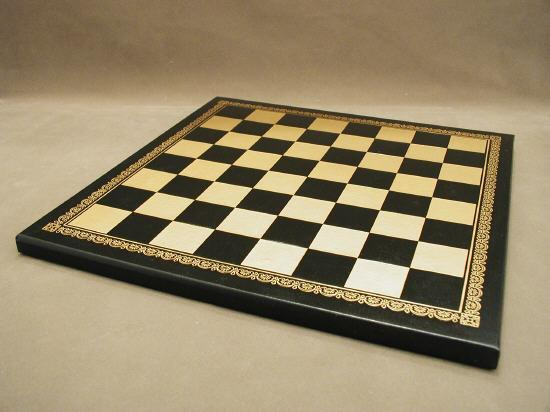 "13"" Black and Gold Pressed faux leather On Wood Chess Board"
