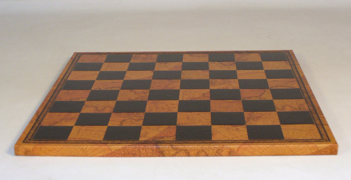 "15"" Antique Map Pressed faux leather On Wood Chess Board"