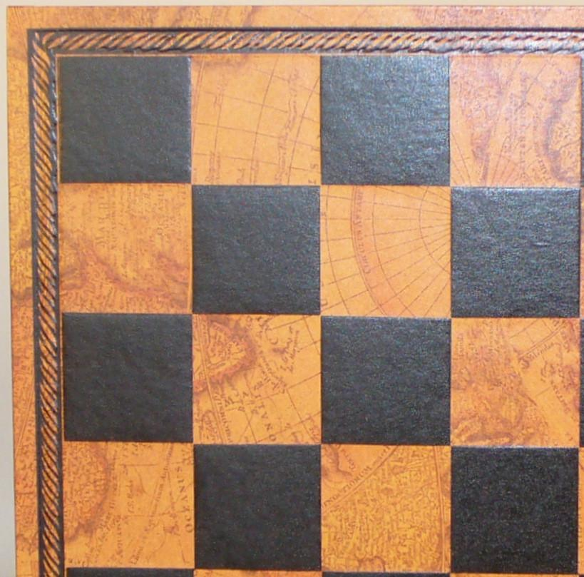 "13"" Burgundy and Gold Pressed faux leather On Wood Chess Board"