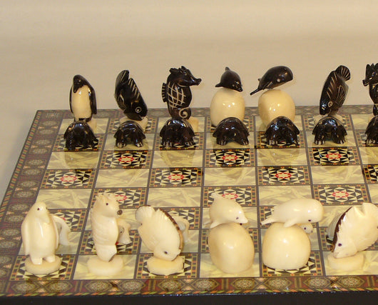 Tagua Turtles Chess Set With Mosaic Chess Board