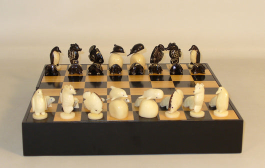 Tagua Nut Chess Set With Wooden Chess Chest