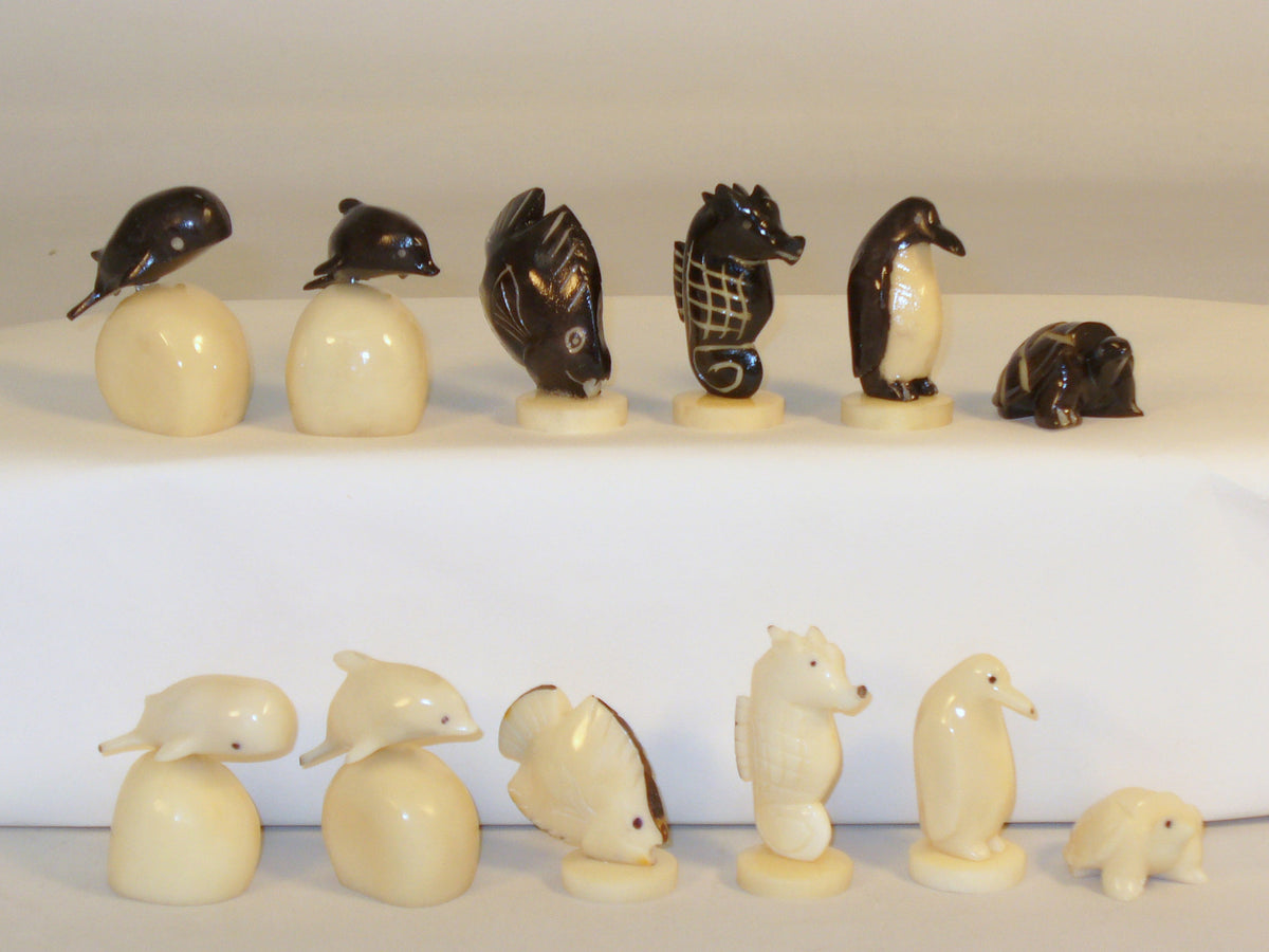 Turtle Tagua Nut Black & White Chess Pieces