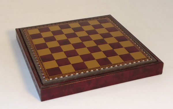 "11"" Burgundy and Gold Pressed Leather Chess Board and Chest"