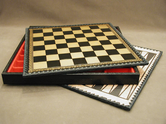 "14"" Black and Gold Pressed faux leather Chess Board and Chest"