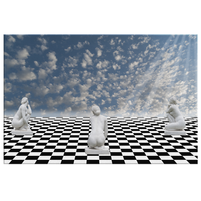Infinite Chess board Women statue - Rectangle Gallery Canvas Art