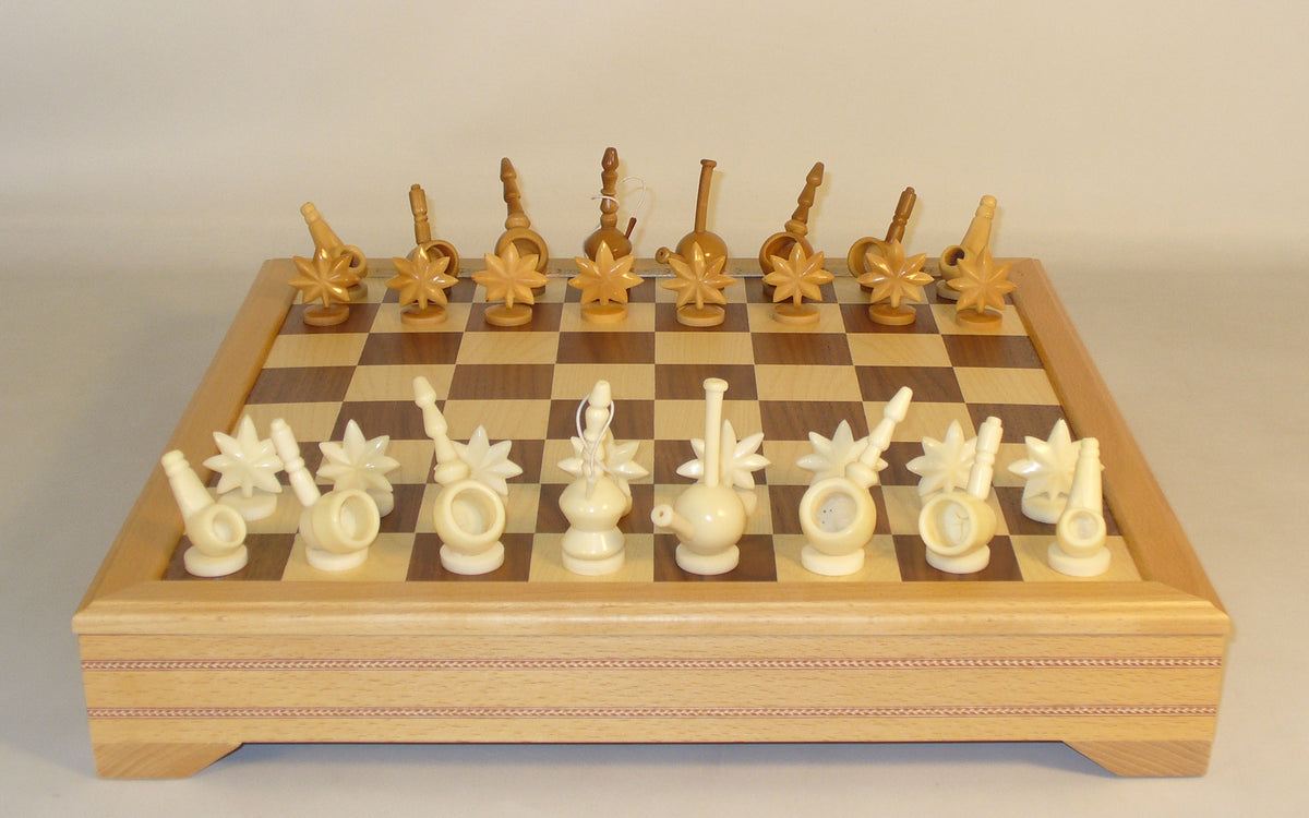 Mary Jane Tagua Nut Chess Set with Beechwood Storage Chest