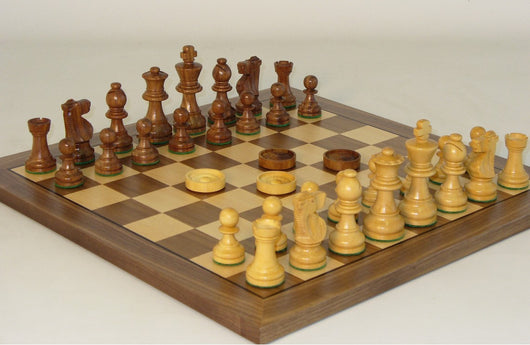 Wood Chess and Checkers set - Walnut and Maple Veneer Board