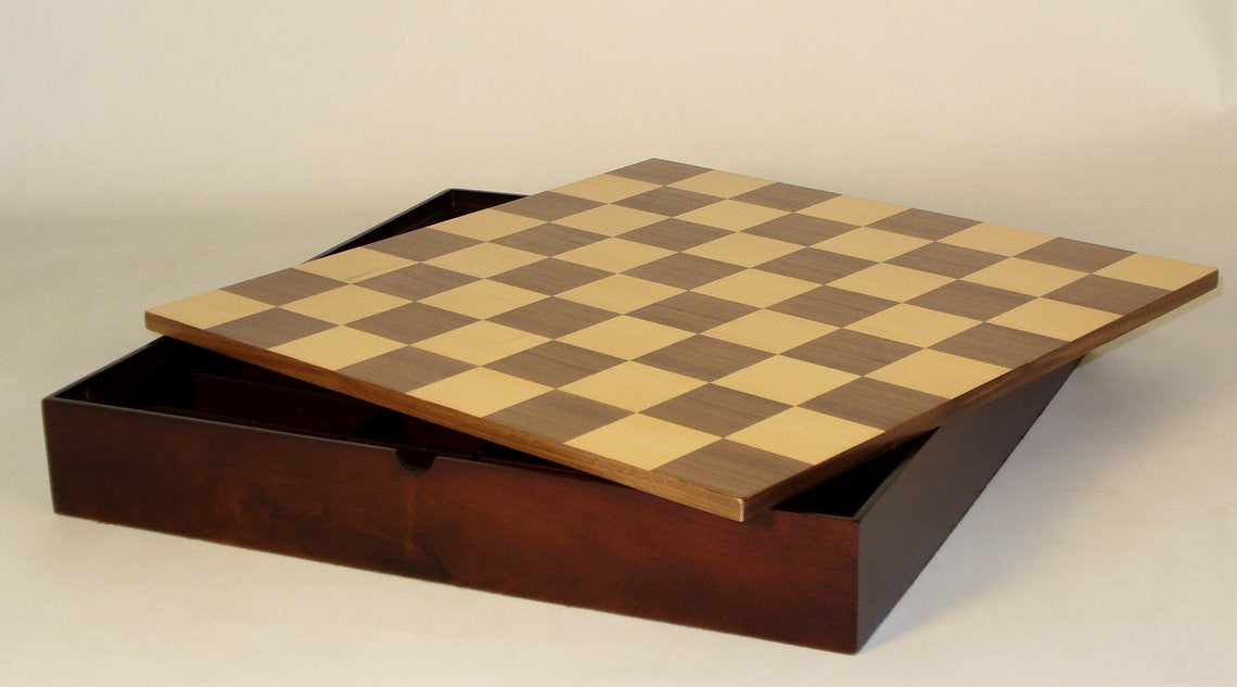 "16.25"" Walnut Maple Veneer Chess Board and Chest"