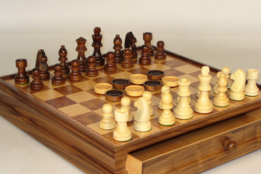 Wood Chess Set with Drawer & Checkers