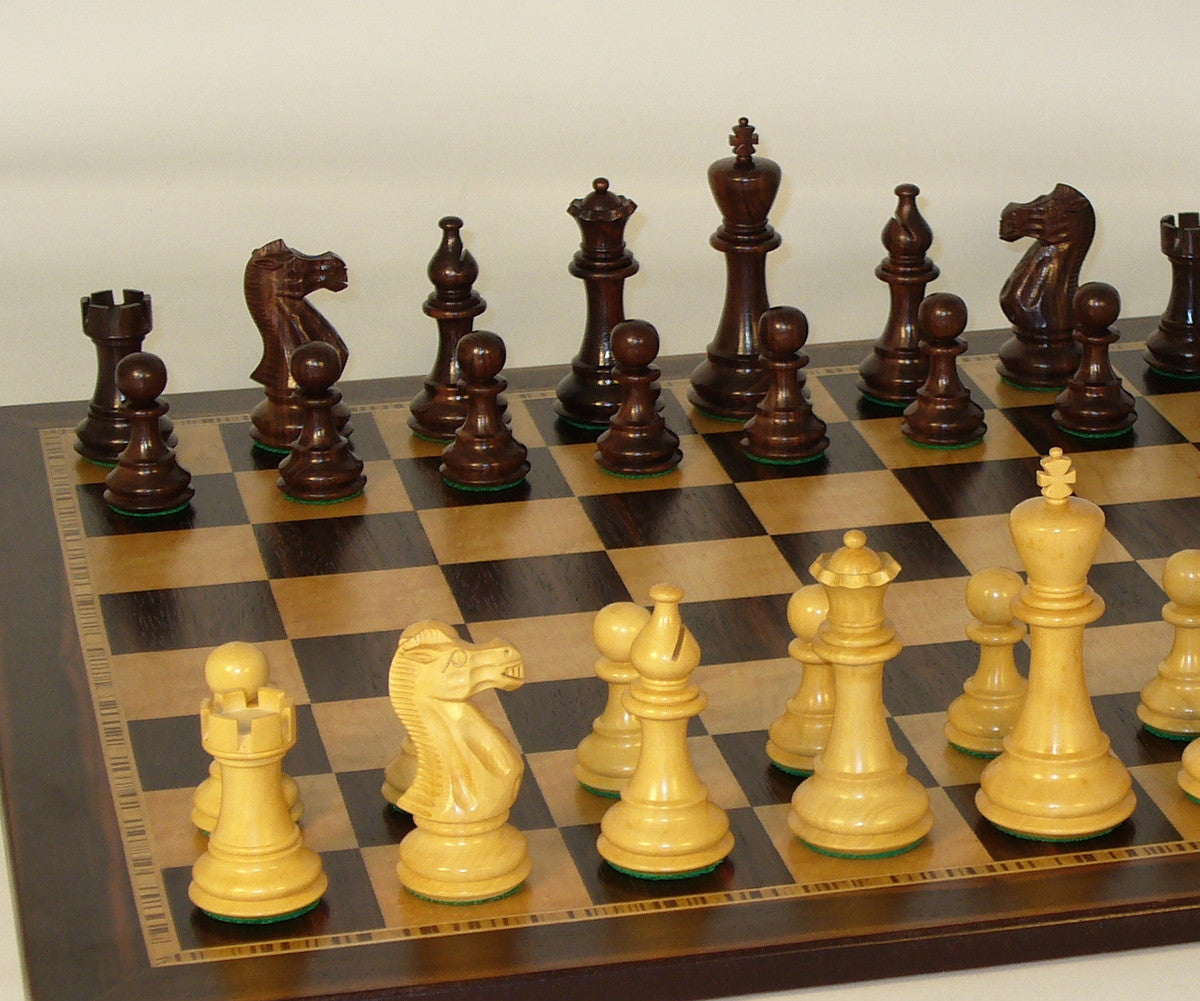 Rosewood American Classic Chess Pieces wit Ebony Board