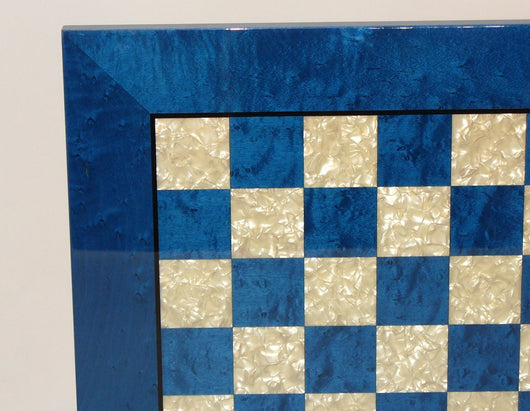 Blue Burl and Mother of Pearl Wood Inlaid Laquered Chess Board