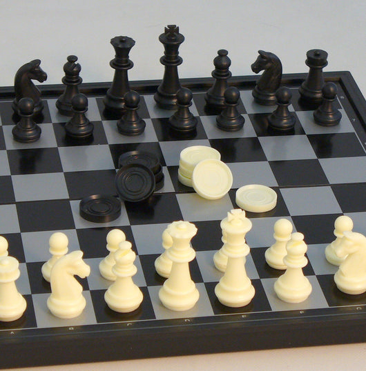 Folding Metal Magnetic Chess and Checkers Set