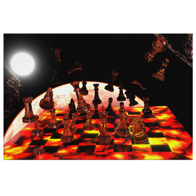 Space Chess - Rectangle Gallery Canvas Art