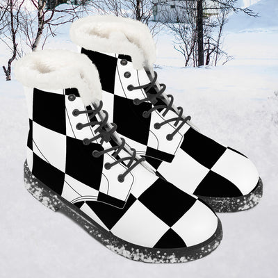 Black and White Chess board pattern Faux Fur Leather Boots
